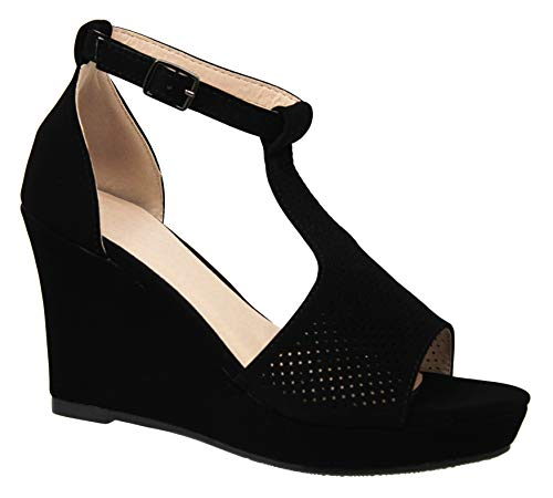 MVE Shoes Womens Comfortable Open Toe Adjustable Ankle Strap Wedge, Black 6.5