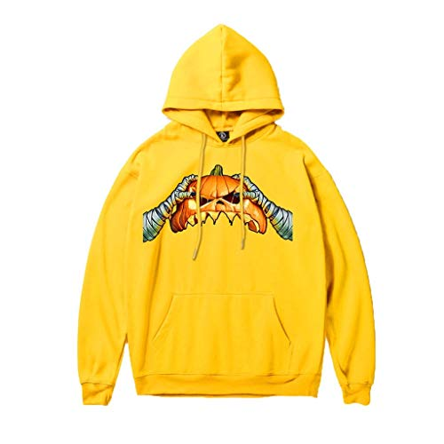 Stoota Halloween Sweatshirt for Men, Scary Printed Party Long Sleeve Hoodies Casual with Pockets Yellow (Polaroid Glow In The Dark)