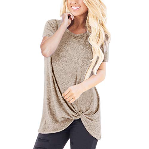 - HIRIRI Summer Soft Loose Women's Tops Twist Knotted Blouses Short Sleeve Round Neck Tunic T Shirt Khaki
