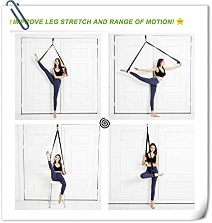 LHB Adjustable Leg Stretcher Lengthen Ballet Stretch Band Easy Install on Door Flexibility Stretching Leg Strap Great Cheer Dance Gymnastics Trainer Stretching Equipment Taekwondo Training
