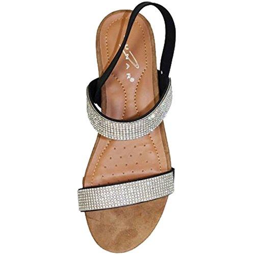 ZAFIRO BOUTIQUE JLH706 Adelaide Mujer Tira Trasera Diamante Baja Cómodo Sandalias De Moda Negro