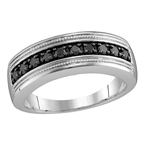 Sterling Silver Mens Round Black Colored Diamond Milgrain Wedding Anniversary Band Ring 1/2 Cttw