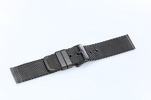 22mm High-Grade Black Stainless Steel Mesh Watch Band for Men Brushed Chain Watch Strap With Pin Clasp by autulet (Image #3)