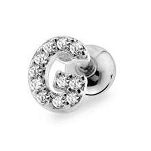 Dynamique 316L Surgical Stainless Steel Cartilage Barbell With Silver Tone Alphabet Initial by Dynamique