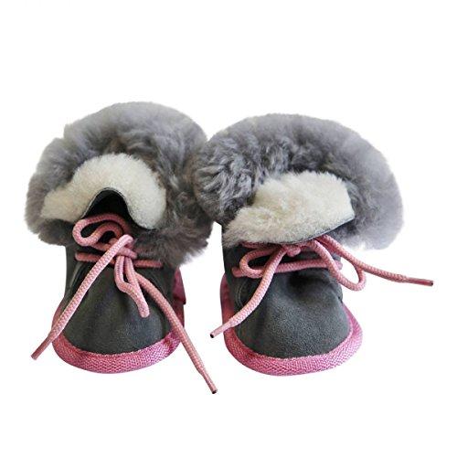 Hollert German Leather Fashion Baby Lammfellschuhe - Bärchen Merino Fellschuhe Echtfell Pink/Grau