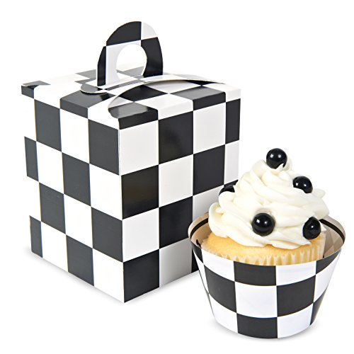 BirthdayExpress Black White Checked Cupcake Boxes -