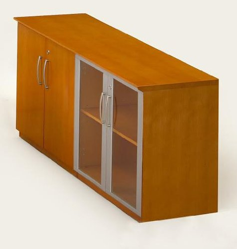 Mayline Corsica Series Low Wall Cabinet With Doors (Wood/Glass Door (Corsica Low Wall Cabinet)