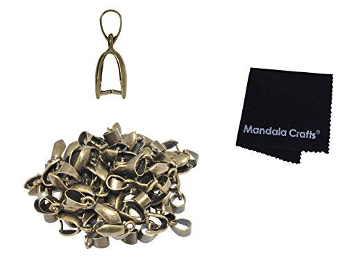 Mandala Crafts Bead Charm Pendant Metal Clasp Connector Pinch Clip Bail Finding Kit for Jewelry Making, Pack of 50 (Antique Brass, 7 X 20mm)