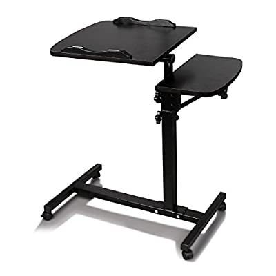 Qisc Angle and Height Adjustable Mobile Laptop Computer Table, Sit-Stand Desk Cart with Side Table (Black)