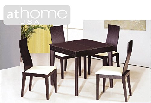 DC3041 Wenge Finish Glass Top Dining Set ()