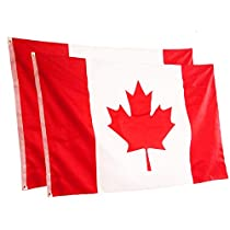 Rhungift [2PCS] 3X5 FT Outdoor Canada Flag. Canadian Flags Fly Breeze Vivid Color and UV Fade Resistant - Printed Maple Leaf Polyester and Brass Grommets CAFlags.