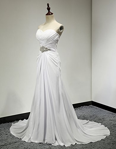 Ivory Bridal Gown Women's Line Pleat Beaded Dress SOLOVEDRESS Wedding Chffion A B7wgqO