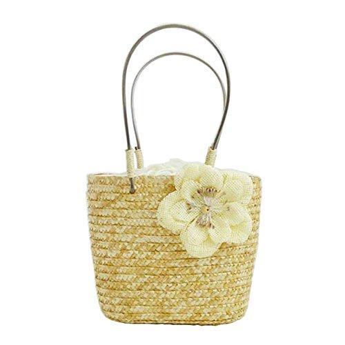 Meaeo Los Bolsos De Las Mujeres Tejidas De Paja Del Verano Women'S Flower Shoulder Bag Ladies Beach Bag Totes