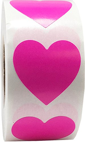 (Hot Pink Heart Stickers, 1 Inch in Size, 500 Labels on a Roll)