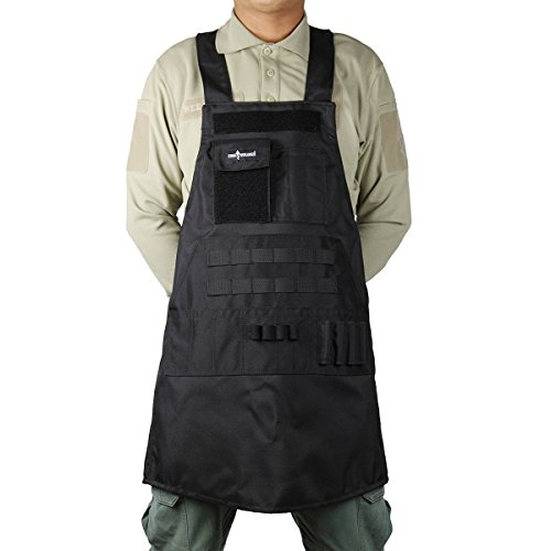 FREE SOLDIER Tactical Apron Duty Work Apron Waterproof Apron with Pocket Durable Nylon Apron (Black)