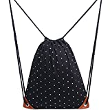Uworth Polka Dot Canvas Drawstring Backpack Bags with Pockets Gym Bag Sackpack for Girls Black