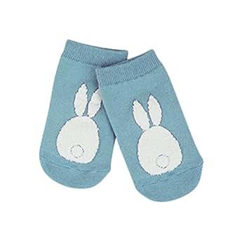 Jlong Baby Kid Girls Boys Non-slip Socks Fur Bunny Printed Boot Cuffs Socks