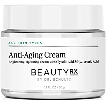 Dr. Schultz BeautyRx Anti Aging Face Cream for Fine Lines, Wrinkles & Dark Spots with 5% Glycolic & Hyaluronic Acid. Best Brightening Facial Night Moisturizer for Women & Men 1.7 oz