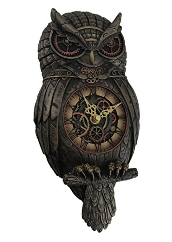 Resin Wall Clocks Metallic Bronze Finished Steampunk Owl Pendulum Wall Clock 6.25 X 12.5 X 2.25 Inches Bronze