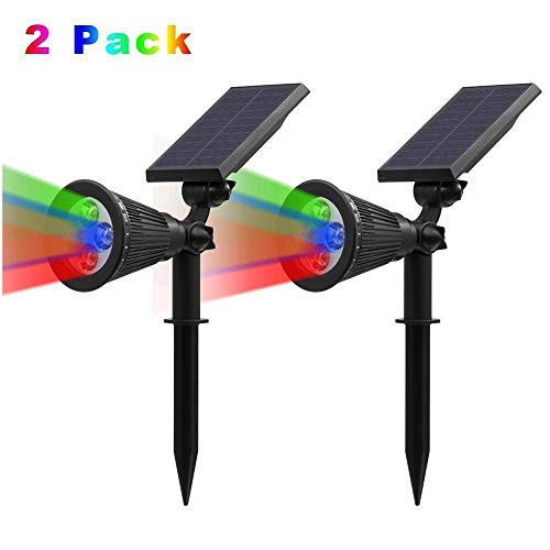 T-SUNRISE Solar Lights, 4 LED Solar Spotlight Adjustable Wall Light Waterproof Landscape Light Security Lighting Dark Sensing Auto On/Off for Tree,Patio,Yard,Garden,Driveway,Pool Area (2 Pack RGB)