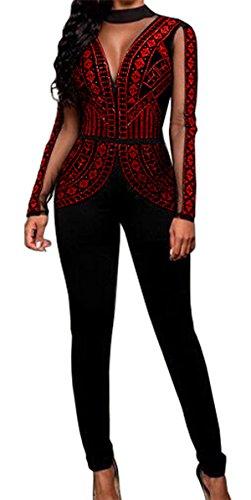 Embellished Jumpsuit (Lovaru Women's Fashion Rhinestone Mesh Insert Bodysuit Jumpsuit Open Back (X-Large, Red 2))