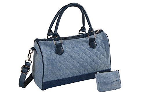 (2-Tone Quilted Denim Shopper w/coin purse - in Blue or Tan (Blue/Dark Blue))