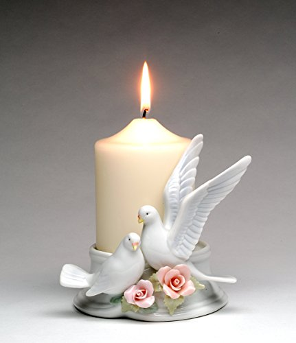 "Cosmos Gifts 96280 Fine Porcelain Double Love Doves with Pink Roses 3"" Pillar Candle Holder (Candle NOT Included), 5-1/2"" H"