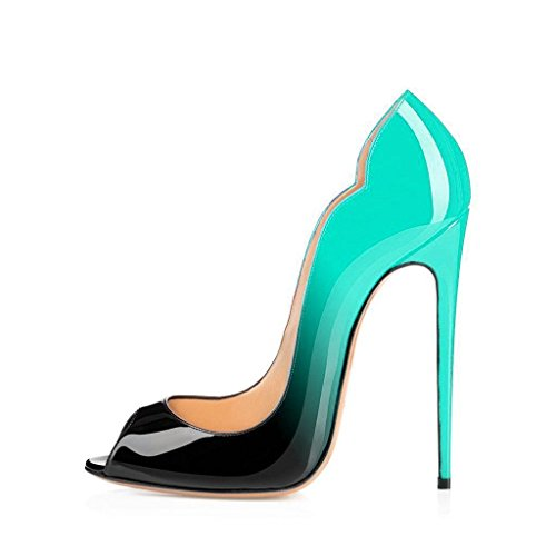 FSJ Women Slide Peep Toe High Heels Pumps Sexy Stilettos Patent Leather Shoes for Party Size 4-15 US Cyan-black classic cheap online discount new arrival 100% guaranteed PF82wF64