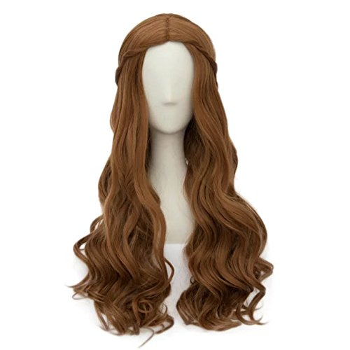 Fashion Brown Curly 25 Inches/65cm Long Anime Cosplay Wig+Cap]()