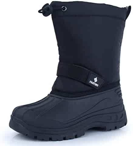 CIOR Fantiny Snow Boots Winter Outdoor Waterproof with Fur Lined for Girls & Boys (Toddler/Little Kid/Big Kid) TX1,Black,30