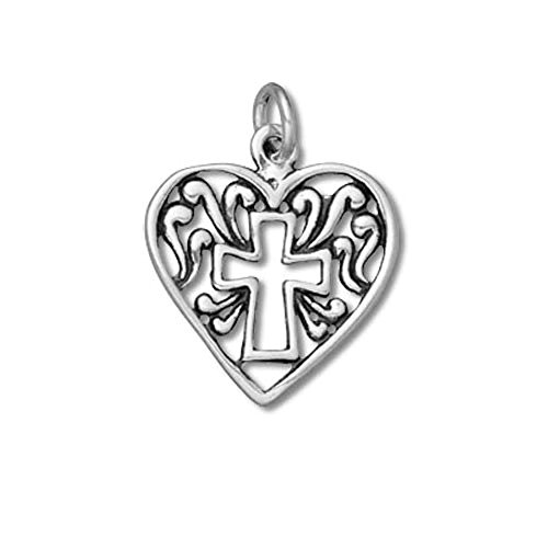 Sterling Silver Heart with Cross Charm - Item ()