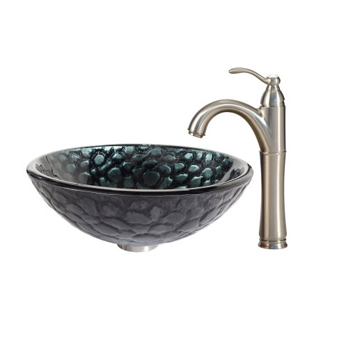 Kraus C-GV-397-19mm-1005SN Kratos Glass Vessel Sink and Riviera Faucet Satin Nickel