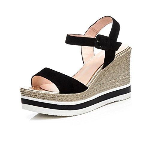 Q5D69 Caminar Zapatos KJJDE Zapatos Chanclas Sandalias Confort Peep Zapatilla Plataforma de Mujer Tacón Toe Tacón Mujeres Black Cuña Para con de de Moda Moda LZ 1gqq6dWXc