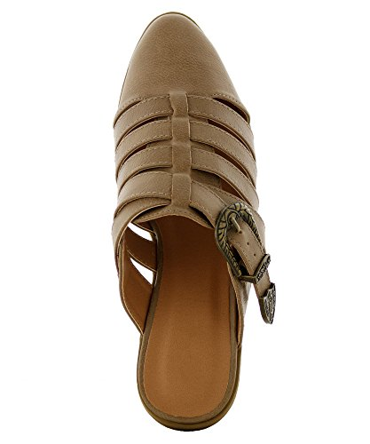 Pointy FASHION Ankle Strap RF Block Low ROOM Leather Booties Distressed Taupe Flats Toe Vegan Heel OF Crisscross fSfTqwIn