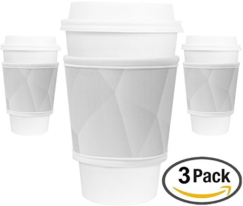 MOXIE Cup Sleeves 3 pack – Reusable Coffee Sleeves - Insulated to protect your hands! – Perfect for hot & cold drinks - One size fits all (Moonrock 3pk) …