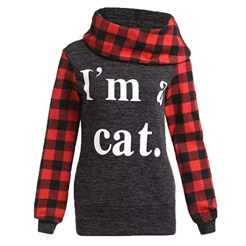 Polyester Red Heart Appliques (Kimloog Women Cowl Neck Warm Plaid Long Sleeve Sweatshirt Letters Print Tunic Tops Pullover (M, Red))