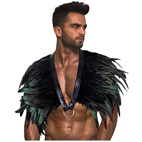 L'VOW Gothic Black Feather Shrug Cape Shawl Halloween Costume for Men (Style -08) -