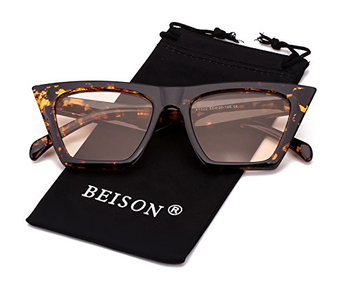 Beison Mens Womens Square Mod Fashion Sunglasses Tinted Lens (Tortoise frame / Light brown lens, - Mod Sunglasses