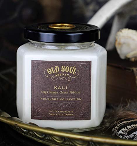 Goddess Kali - Nag Champa (sandalwood frangipani plumeria) Candle w/Guava, Hibiscus Scented Soy 9oz -