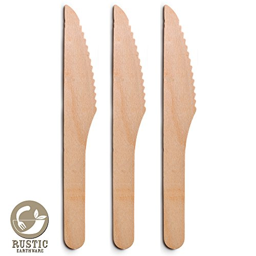 Disposable Knives 150 Pc Set by Rustic Earthware | Wooden Eco-Friendly Biodegradable Tableware | Parties, Weddings, and Showers | Bonus Party, Wedding or Sustainable Ebook