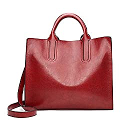Vintage Women Handbag Luxury Pu Leather Shoulder Bag Casual Tote Large Tote Bag Red