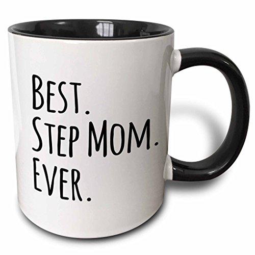 3dRose 151543_4 Best Step Mom Ever Mug 11 oz Black