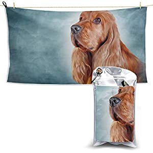 Drawing Dog English Cocker Spaniel Portrait Cat Beach Towel For Girls Beach Towels Quick Dry Camping Towel Quick Dry Towel Beach Travel 27.5'' X 51''(70 X 130cm)best For Gym Travel Camp Yoga Fitnes 24