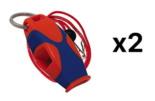 Fox 40 Sharx Pealess Whistle with Breakaway Lanyard - Orange/Blue (2-Pack)