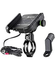 iMESTOU Motorcycle Phone Mount Charger USB 3.0 Socket Handlebar/ Rear-View Mirror Cellphone Holder Charger with Aluminium Mount Base for 12V/24V Vehicles Compatible with 4.0-6.5 Inch Smartphones