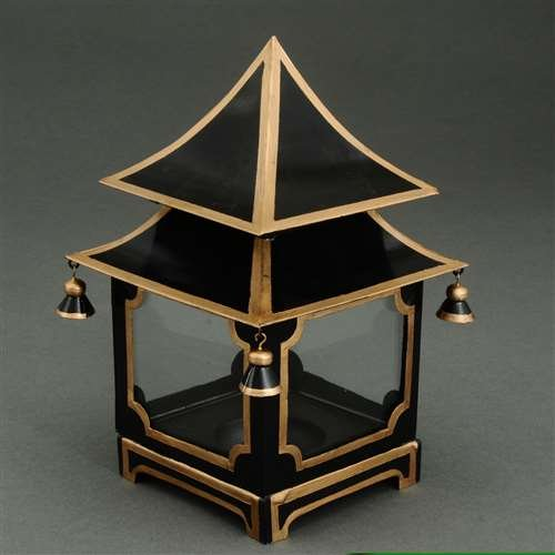 JM Candle Lanterns Decorative Lanterns Votive Candle Holders Black Tole Pagoda Candle Lantern