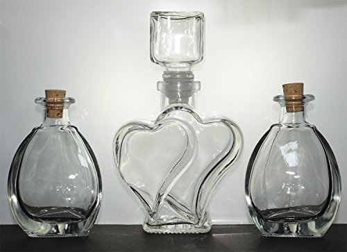 Sand Ceremony Bottle (The Original Sand Wedding Unity Heart Ceremony Vase with Sculpted Glass Stopper)