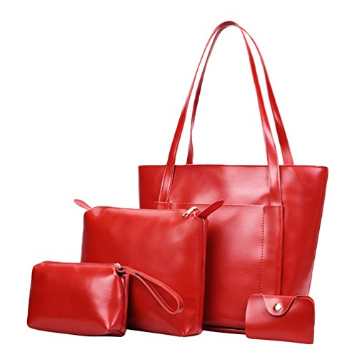 Pcs 4 Card Kairuun Bag Faux Women Oil Handbag Set Bag Messenger Purse Leather Solid Red Color Tote Wax 7Rvq7O