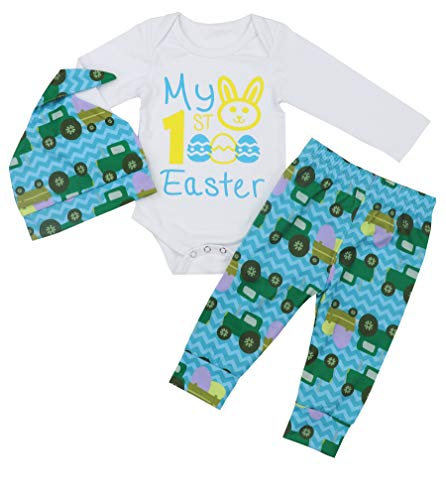 My 1st Easter Day Baby Boy Outfit Set Bunny Romper Bodysuit+ Leggings Pants+Hat 6-9 Months Green -