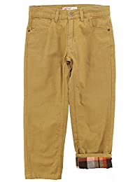 Smith's American Little Boys' Winter Fashion Pants with Plaid Flannel Lining, Khaki, 6